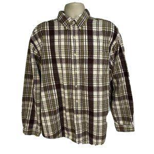 Eddie Bauer Flannel Plaid Button Front Shirt XL